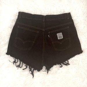Levi's Vintage White Label/Tag Repurposed Black Distressed Denim Shorts